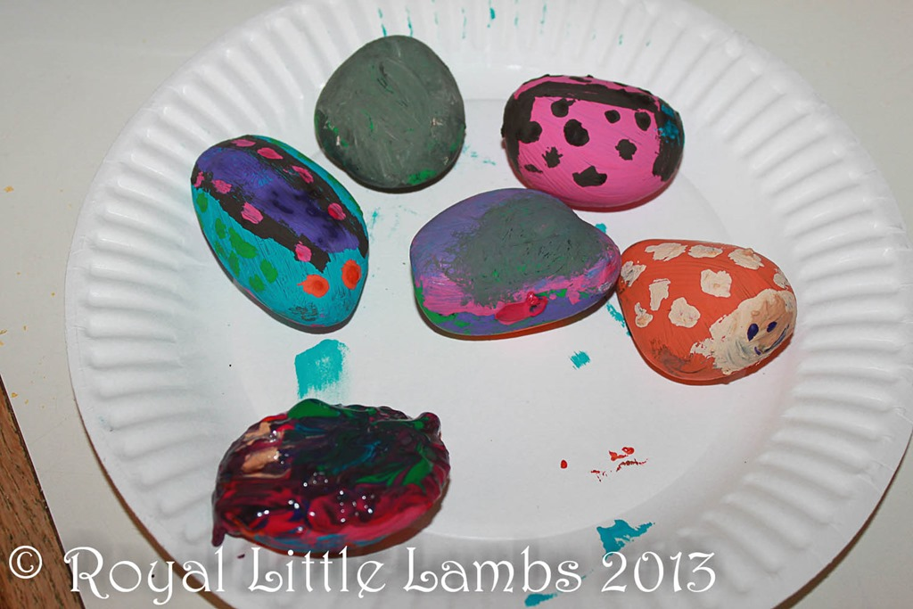 painted scarab stones