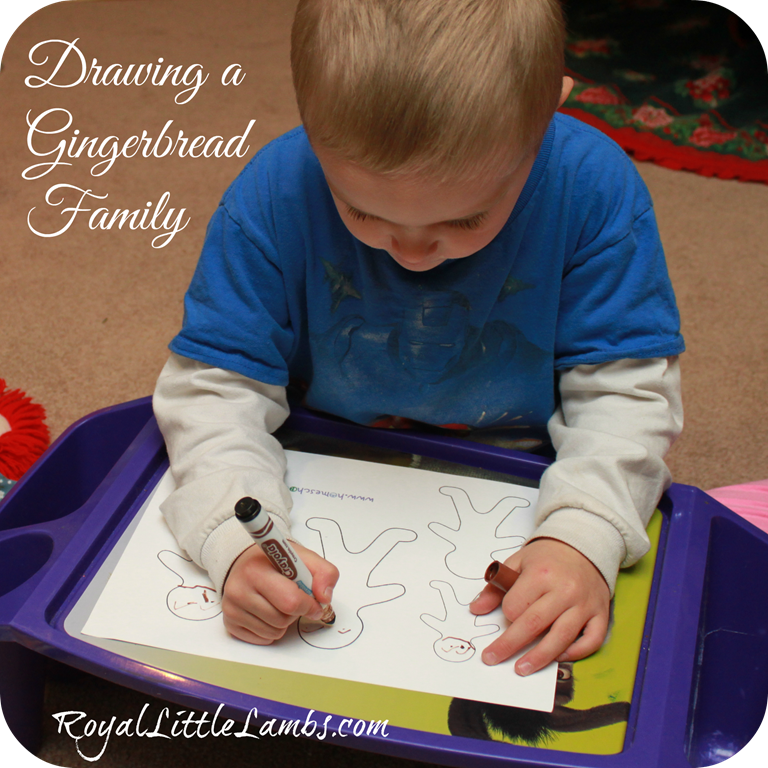 drawing a gingerbread family
