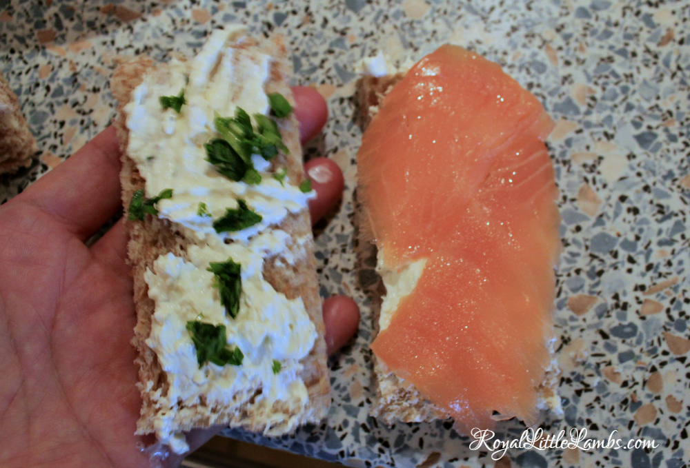 Assembling Smoked Salmon Sandwiches