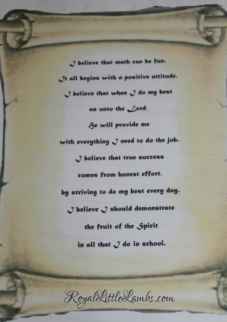 Math Creed Scroll