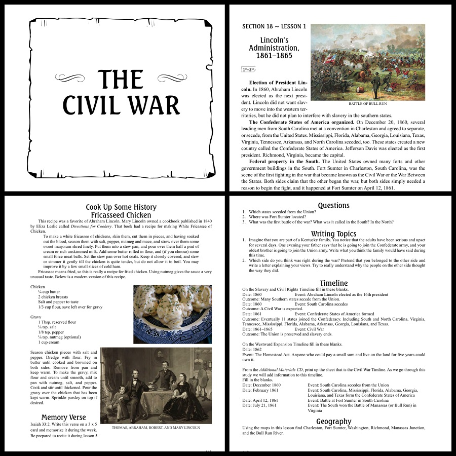 Civil War Lesson Collage