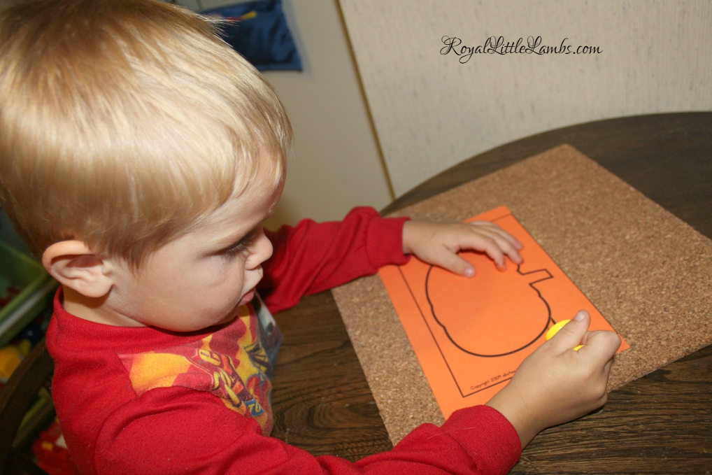 Montessori Pin Pushing Pumpkins
