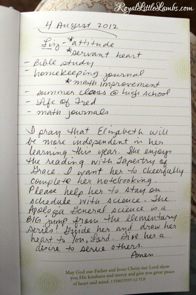 Prayer Journal Entry
