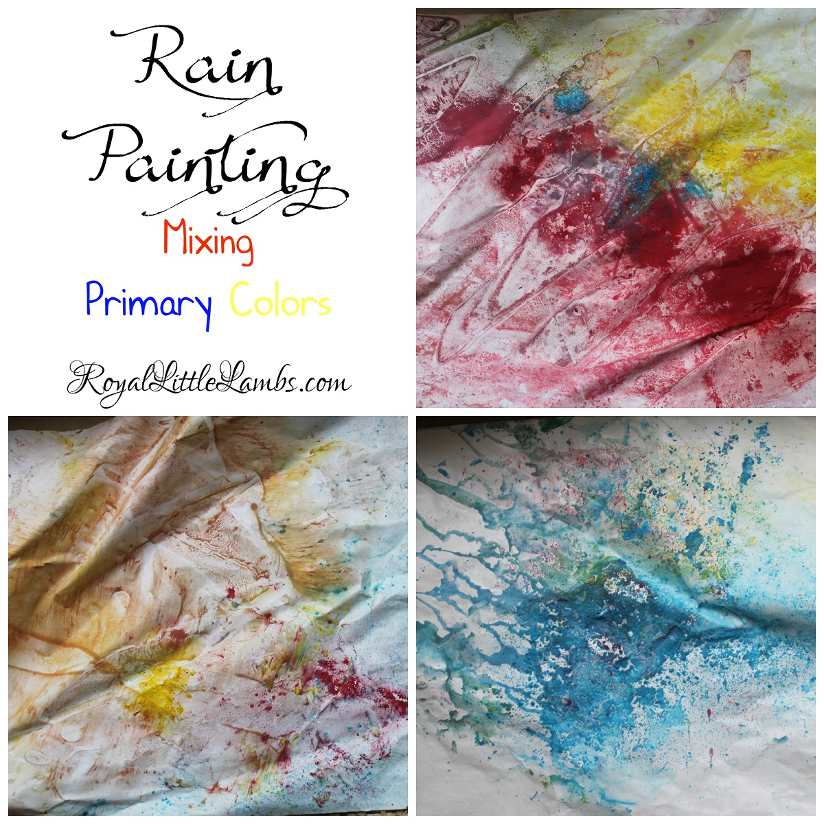 Rain Painting - Mixing Primary Colors